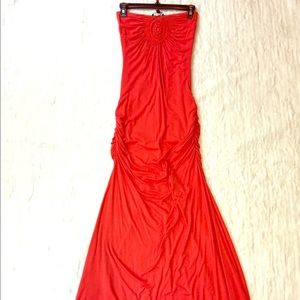 Small 🧡 Orange Strapless Sky Maxi Dress